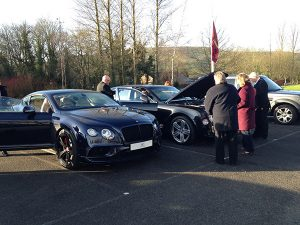 Bentleys in the carpark of Chapel Golf Club Feb 2016